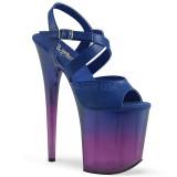 Azul 20 cm FLAMINGO-822T Sapatos plataforma de salto