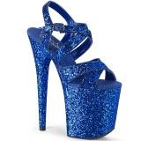 Azul 20 cm FLAMINGO-897LG brilho plataforma salto alto mulher