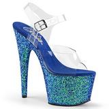 Azul Brilhar 17 cm ADORE-708LG Plataforma Sandálias Salto Agulha