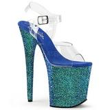 Azul Brilhar 20 cm FLAMINGO-808LG Plataforma Sandálias Salto Agulha