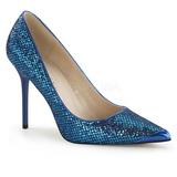 Azul Brilho 10 cm CLASSIQUE-20 Sapatos Scarpin Salto Agulha