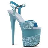 Azul Brilho 20 cm Pleaser FLAMINGO-809-2G Saltos Altos Plataforma