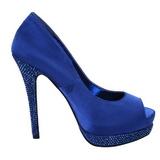Azul Cetim 13,5 cm BELLA-12R Pedra Cristal Plataforma Scarpin Calçados