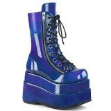 Azul Envernizado 11,5 cm BEAR-265 botinha demonia com plataforma