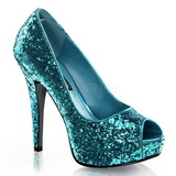 Azul Glitter 13,5 cm TWINKLE-18G Plataforma Scarpin Salto Alto Peep Toe