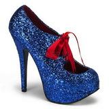 Azul Glitter 14,5 cm Burlesque TEEZE-10G Platform Scarpin Sapatos