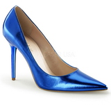 Azul Metálico 10 cm CLASSIQUE-20 Sapatos Scarpin Salto Agulha