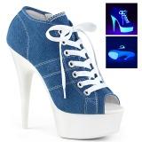 Azul Neon 15 cm DELIGHT-600SK-01 tênis com salto alto de linho