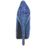 Azul Pedra Cristal 14,5 cm Burlesque TEEZE-06R Plataforma Scarpin Salto Alto
