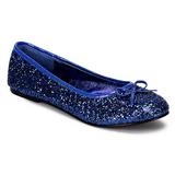 Azul STAR-16G brilho sapatas da bailarina mulher baixos altos