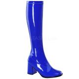 Azul Verniz 8,5 cm GOGO-300 Botas Mulher para Homens