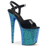 Azul brilho 20 cm Pleaser FLAMINGO-809LG sapatos de saltos pole dance