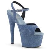 Azul imitação de couro 18 cm ADORE-709WR sandálias de salto alto