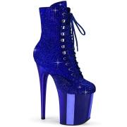 Azul strass 20 cm FLAMINGO-1020CHRS botinha salto alto pleaser