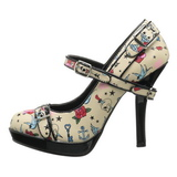 Bege 12 cm PINUP SECRET-14 Mary Jane Scarpin Sapatos Altos