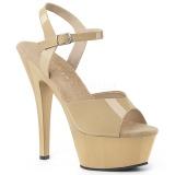 Bege 15 cm Pleaser KISS-209 sandálias de salto alto mulher