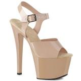 Bege 18 cm SKY-308N JELLY-LIKE stretch plataforma zapatos mulher