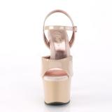 Bege 18 cm SKY-309TT sandálias pleaser com sola ouro
