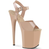 Bege 20 cm FLAMINGO-808N JELLY-LIKE stretch plataforma zapatos mulher