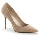 Bege Camurça 10 cm CLASSIQUE-20 Sapatos Scarpin Salto Agulha