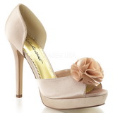 Bege Cetim 12 cm LUMINA-34 sapato scarpin para noite de gala