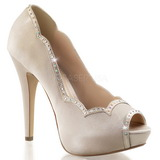 Bege Cetim 13 cm LOLITA-05 sapato scarpin para noite de gala