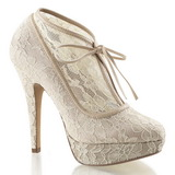 Bege Cetim 13 cm LOLITA-32 sapato scarpin para noite de gala