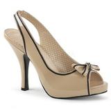 Bege Envernizado 11,5 cm PINUP-10 numeros grandes sandálias mulher