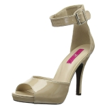 Bege Envernizado 12,5 cm EVE-02 numeros grandes sandálias mulher