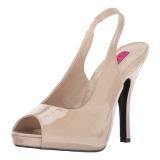 Bege Envernizado 12,5 cm EVE-04 numeros grandes sandálias mulher