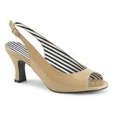 Bege Envernizado 7,5 cm JENNA-02 numeros grandes sandálias mulher