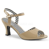 Bege Envernizado 7,5 cm JENNA-09 numeros grandes sandálias mulher