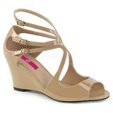 Bege Envernizado 7,5 cm KIMBERLY-04 numeros grandes sandálias mulher