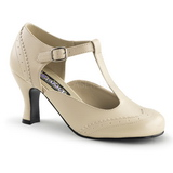 Bege Fosco 7,5 cm retro vintage FLAPPER-26 Sapatos Scarpin Femininos