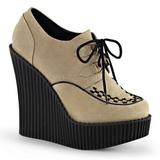 Bege Imitação Couro CREEPER-302 sapatos creepers cunha altos