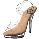 Bege Transparente 13 cm LIP-108 Plataforma Sapatos Salto Alto