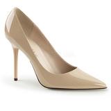 Bege Verniz 10 cm CLASSIQUE-20 numeros grandes sapatos stilettos