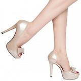 Bege Verniz 12 cm LUMINA-32 sapato scarpin para noite de gala