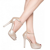 Bege Verniz 12 cm LUMINA-45 sapato scarpin para noite de gala