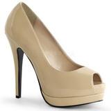 Bege Verniz 13,5 cm BELLA-12 Sapatos Scarpin Salto Agulha