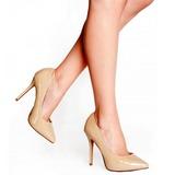 Bege Verniz 13 cm AMUSE-20 Sapatos Scarpin Salto Agulha