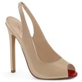 Bege Verniz 13 cm SEXY-08 Sapatos Scarpin Sling Back