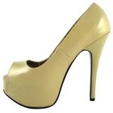 Bege Verniz 14,5 cm TEEZE-22 Sapatos Scarpin Salto Agulha