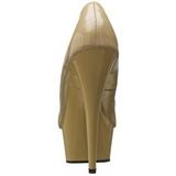 Bege Verniz 15 cm Pleaser DELIGHT-685 Plataforma Scarpin Salto Alto