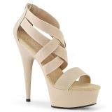 Bege banda elástica 15 cm DELIGHT-669 sapatos pleaser femininos