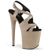 Bege imitação de couro 20 cm FLAMINGO-831FS sandálias de salto alto