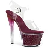 Borgonha 18 cm SKY-308G-T brilho plataforma sandálias mulher