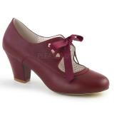 Borgonha 6,5 cm WIGGLE-32 Pinup sapatos scarpin com salto grosso