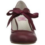 Borgonha 6,5 cm WIGGLE-32 retro vintage sapatos maryjane com salto grosso