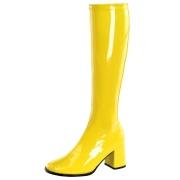 Botas amarelas cano alto 7,5 cm - calcanhar botas años 70 hippie disco couro envernizado